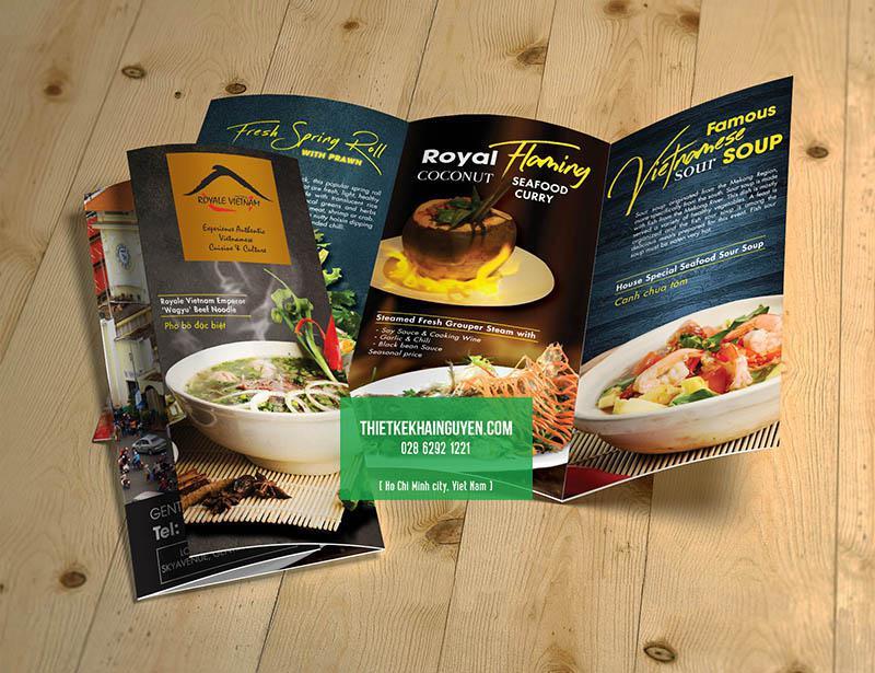 In menu tờ rơi dạng menu gấp 3 - in menu tphcm