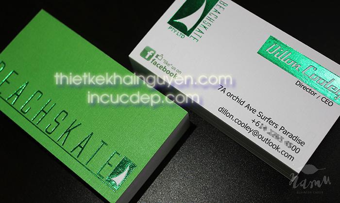 Mẫu 02 - in card visit ép kim màu xanh lá