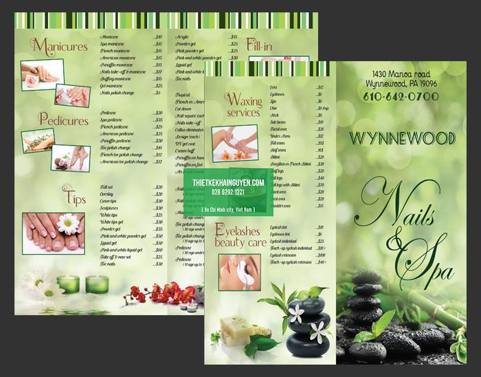 Mẫu menu Nails SPA với màu xanh tự nhiên