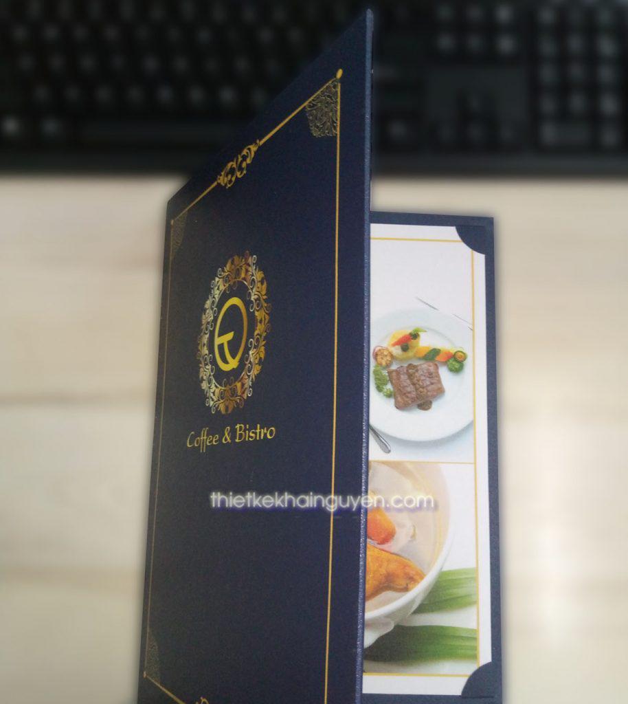 Mẫu in menu nẹp góc rời - menu bìa bồi carton gập đôi