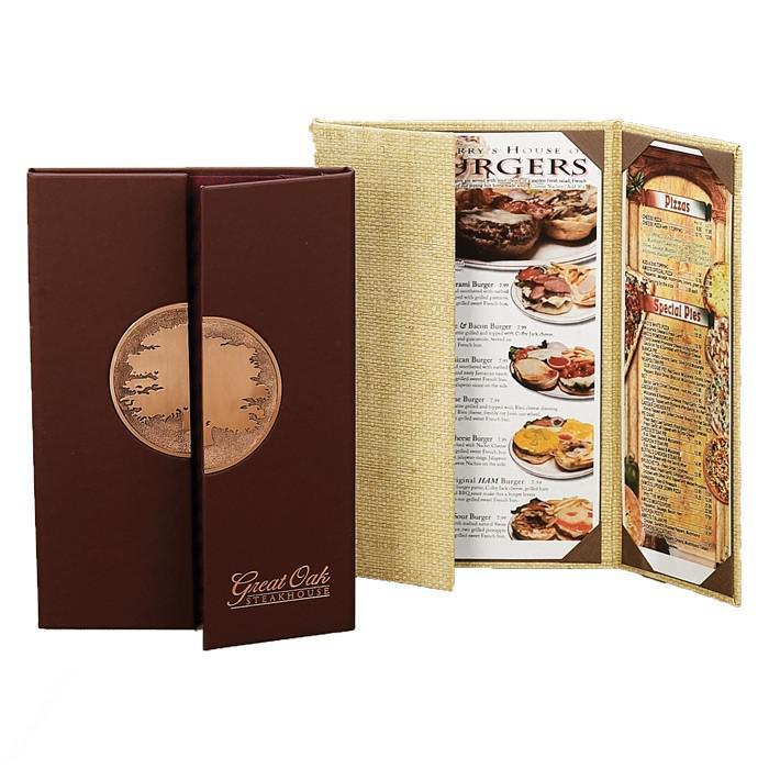 In menu gấp cửa sổ bằng bìa vải hoặc bìa bồi carton