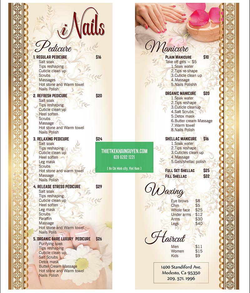 Thiết kế menu INails với kích thước menu đặc biệt