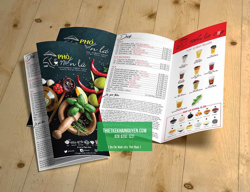 Dạng tờ rơi menu - menu cầm tay