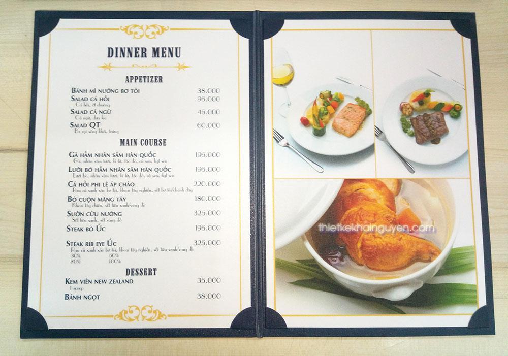 Phần ruột menu in KTS cán màng nhám