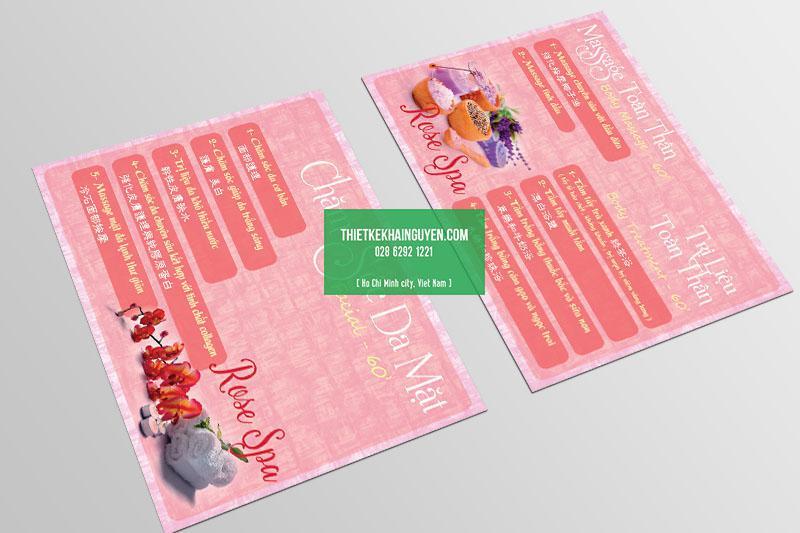 Mẫu thiết kế menu Spa Beauty dạng 1 tờ