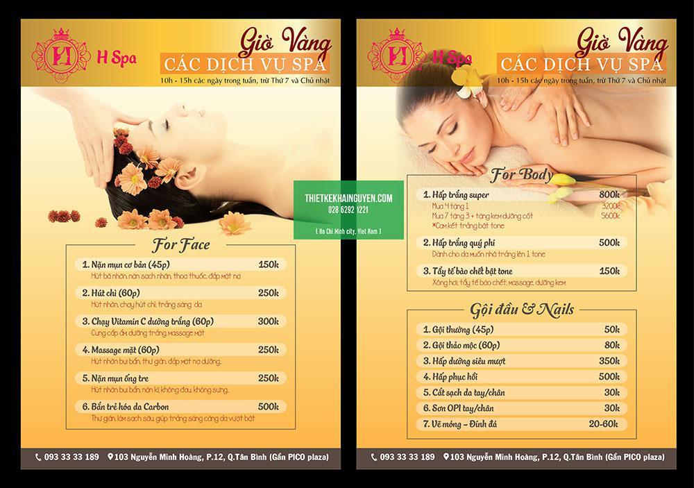 Thiết kế menu Spa dạng tờ A3
