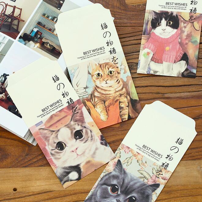 Thiết kế bao lì in hình con mèo theo phong cách Nhật