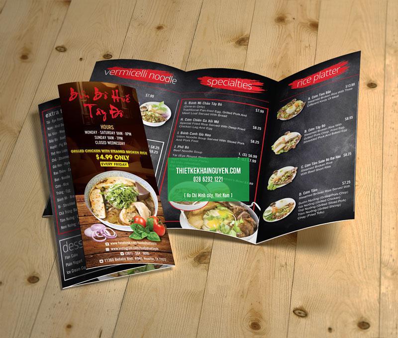 Mẫu thiết kế brochure nhà hàng bún bò Huế