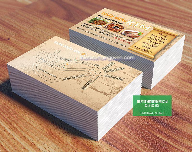 Vẽ bản đồ trên card visit - mẫu name card quán nhậu