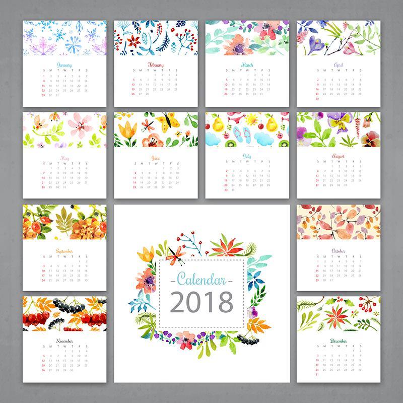 Mẫu thiết kế lịch để bàn năm 2018