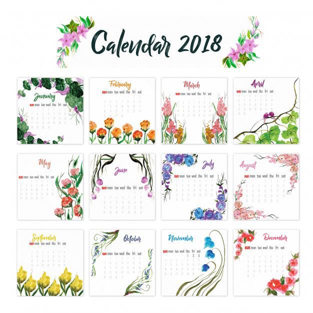 Thiết kế lịch để bàn với hoa văn màu nước