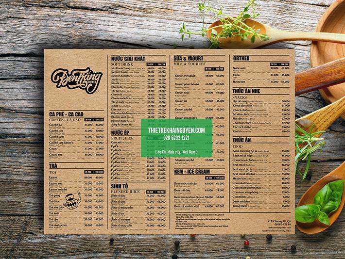 Thiết kế menu kraft - phong cách đen trắng