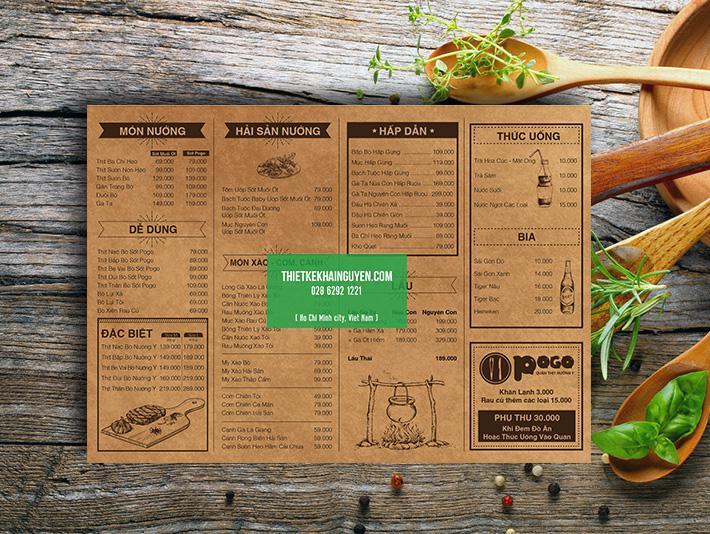 Thiết kế menu nhà hàng phong cách cổ điển