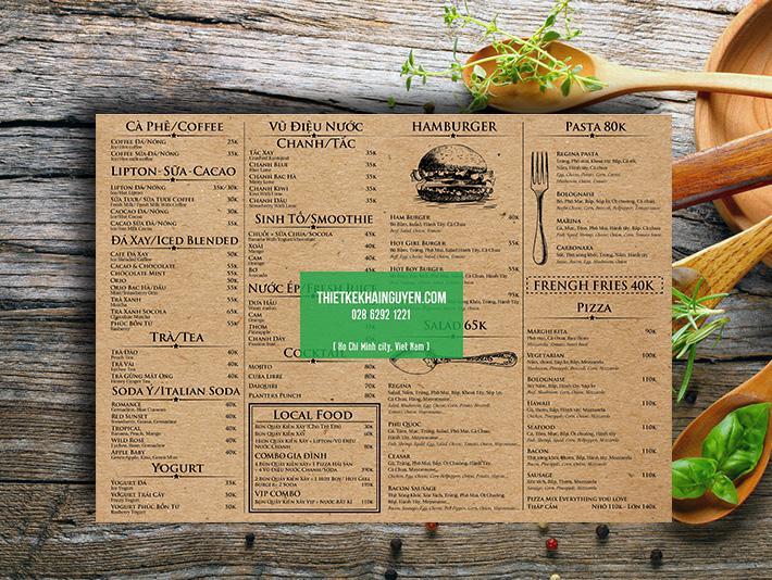 Thiết kế menu kraft giống dạng báo cũ