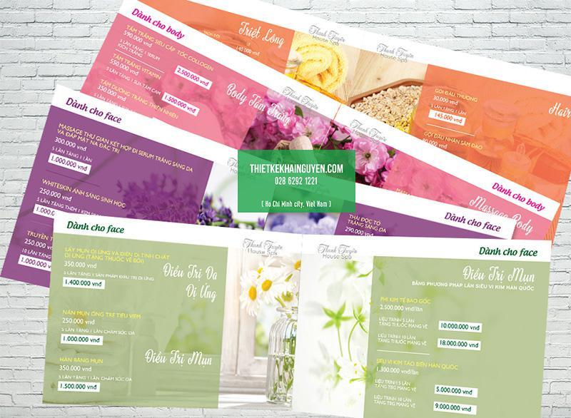 Thiết kế menu trong bộ thiết kế in ấn Spa Thanh Tuyền