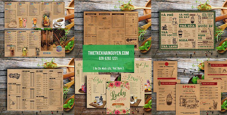 Thiết kế menu kraft cổ điển ấn tượng - menu nhà hàng quán cafe