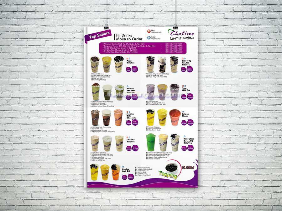 Thiết kế tờ rơi A4 cho quán trà sữa ChatTime