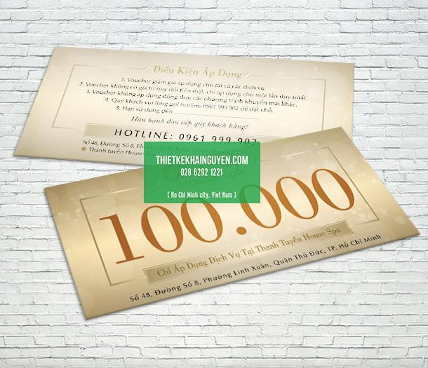 Mẫu voucher 100.000đ của Spa Thanh Tuyền