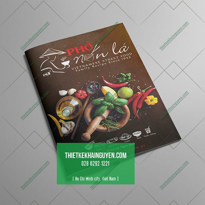 Bìa thực đơn nhà hàng Phở Nón Lá