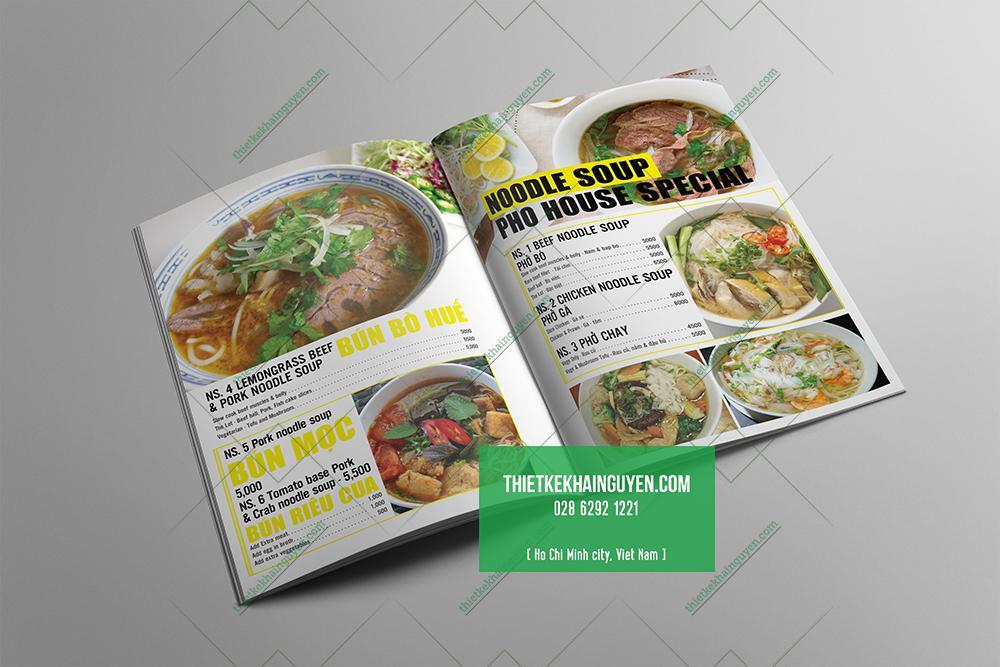 Thiết kế menu nhà hàng Phở đẹp