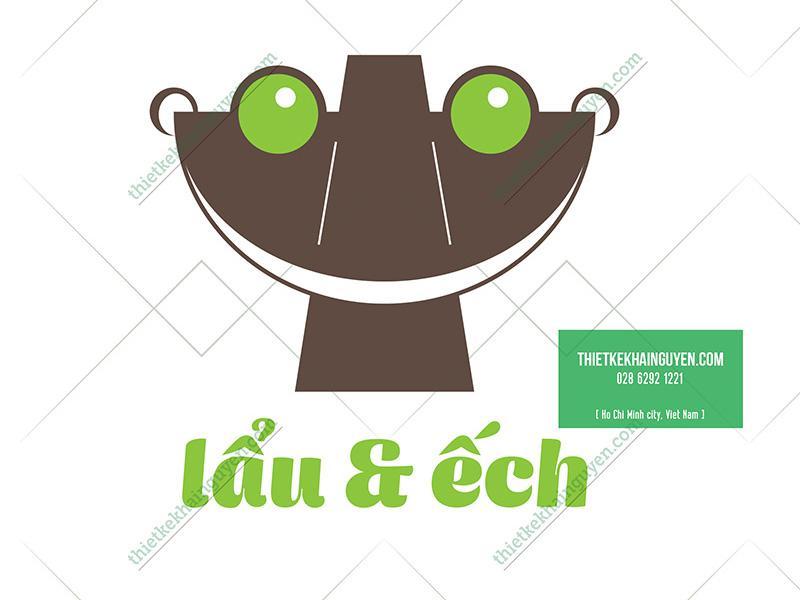 Mẫu thiết kế logo lẩu & ếch được sáng tạo từ hình tượng chú ếch