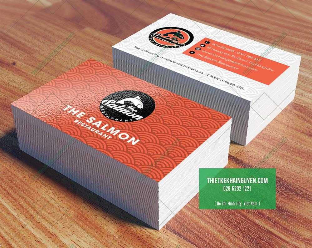 Mẫu thiết kế name card nhà hàng Salmon tại Đà Nẵng