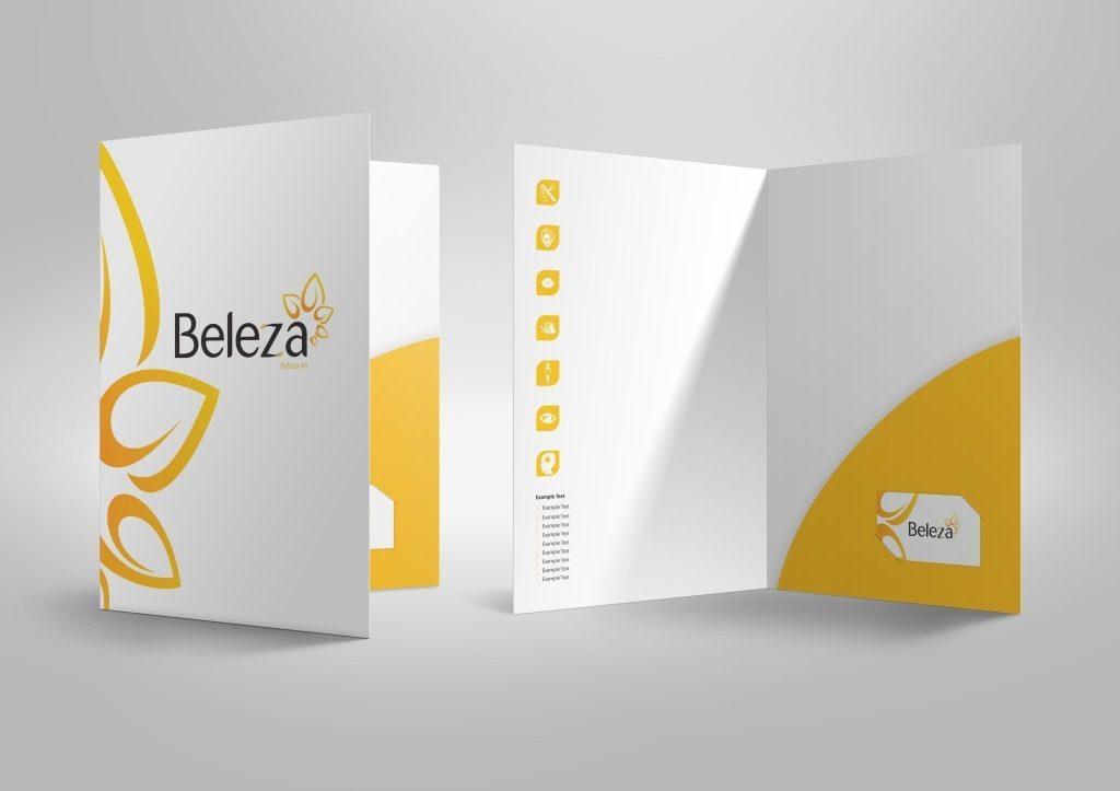 Thiết kế kẹp file với tai gấp tam giác kèm card visit