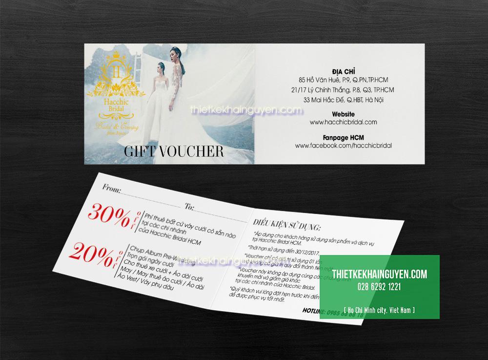 Mẫu voucher gấp đôi ngang của cửa hiệu áo cưới