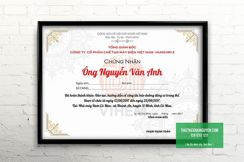 Giấy chứng nhận/ bằng khen tiếng Việt