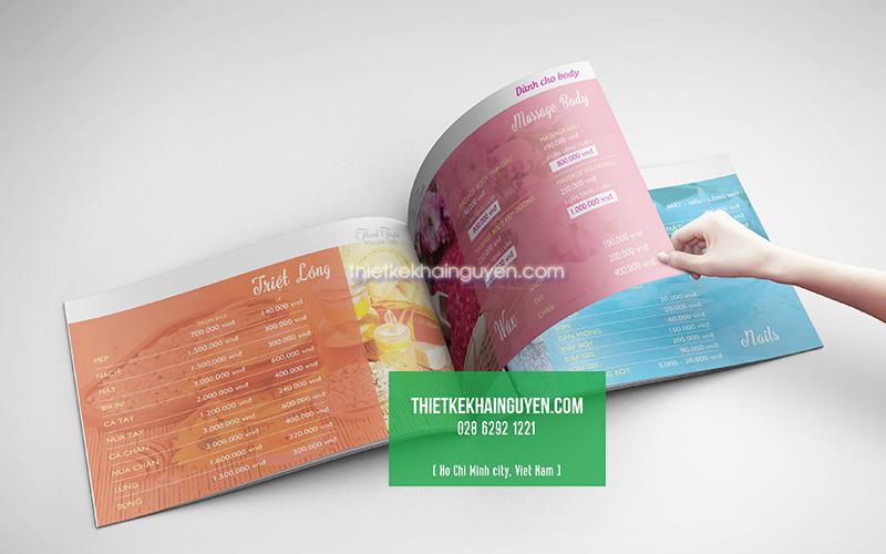 Bảng mẫu thiết kế menu spa Thanh Tuyền