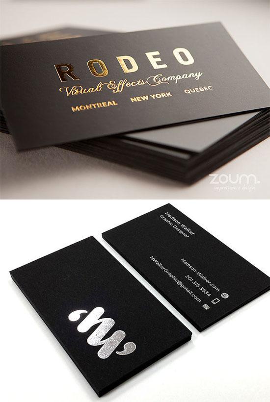 In card visit giấy đen - đơn giản hiệu quả