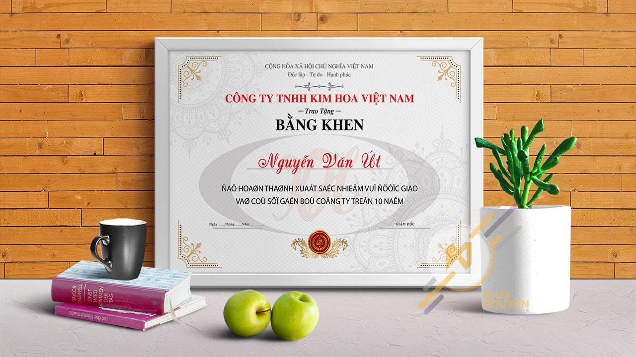 Giấy khen công ty TNHH KIM HOA Việt Nam