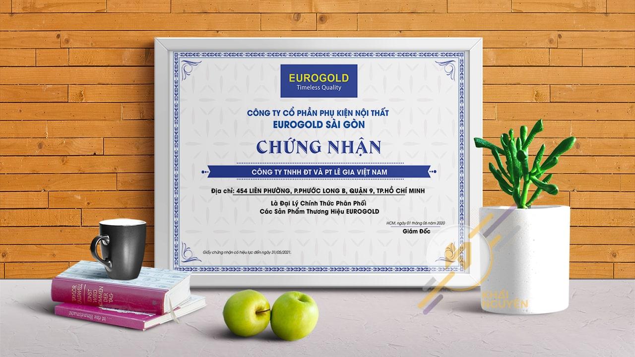 Mẫu giấy chứng nhận công ty cổ phần phụ kiện nội thất Eurogold Sài Gòn