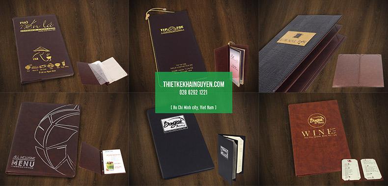 Một số mẫu in menu bìa da ép kim