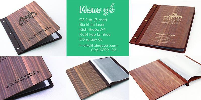 Bìa menu bằng gỗ laminate bền đẹp