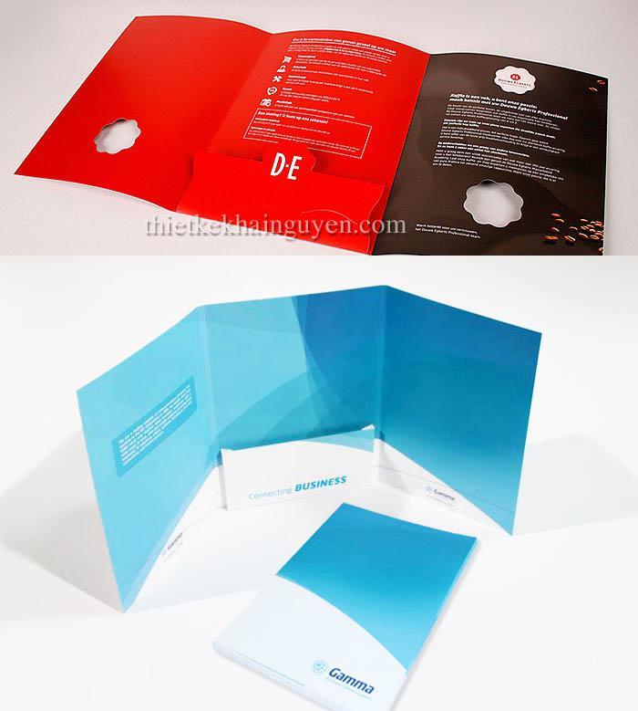 Dạng in bìa đựng hồ sơ gấp 3 với 1 tai gấp ở giữa