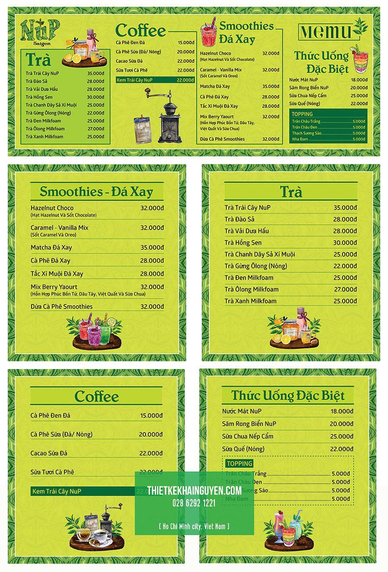 Thiết kế in menu dán tường cho quán cafe