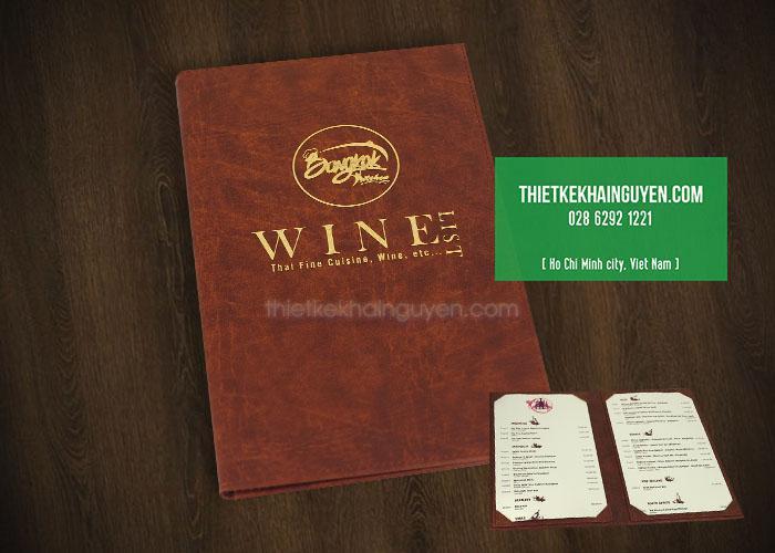 Menu bìa da BANGKOK WINE - menu ép kim sang trọng