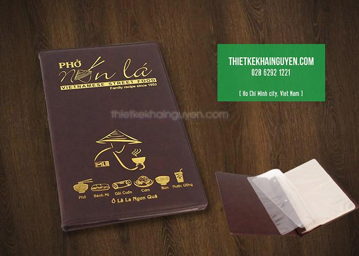 Thực đơn bìa da nhà hàng Phở Nón Lá tại ÚC
