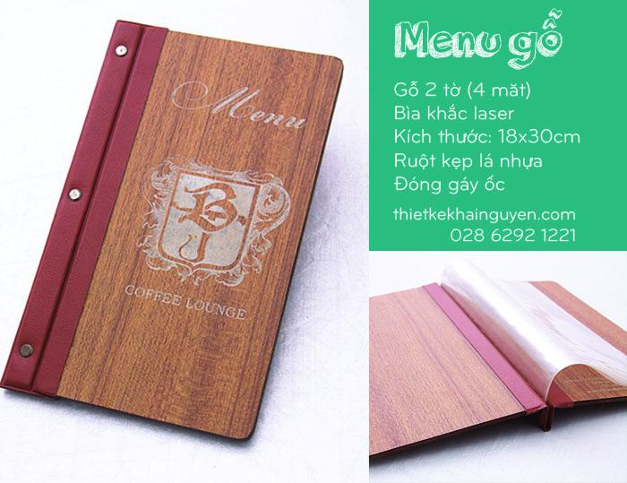 Thực đơn bìa gỗ 4 mặt - Menu Coffee Lounge