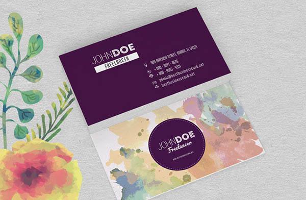 Design name card màu nước với màu tím