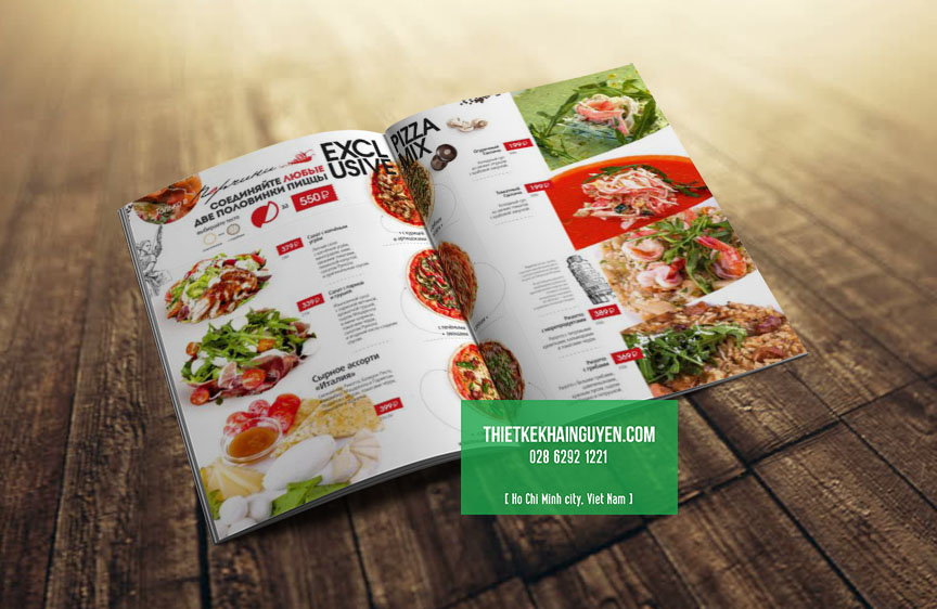 Một mẫu thực đơn sang trọng cho nhà hàng Pizza