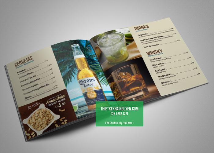 Phần thực đơn rượu trong menu nhà hàng