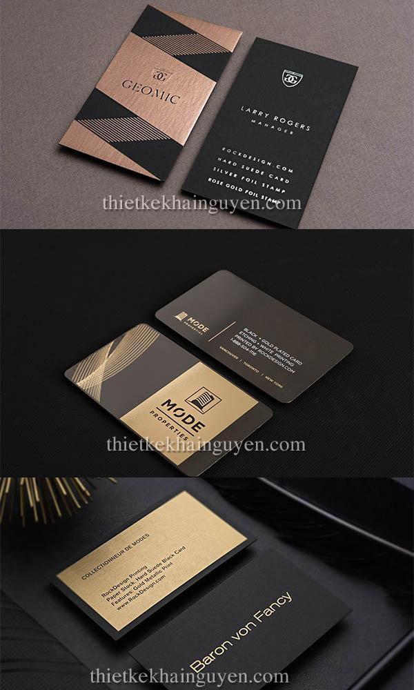 In name card ép kim màu đồng full nền