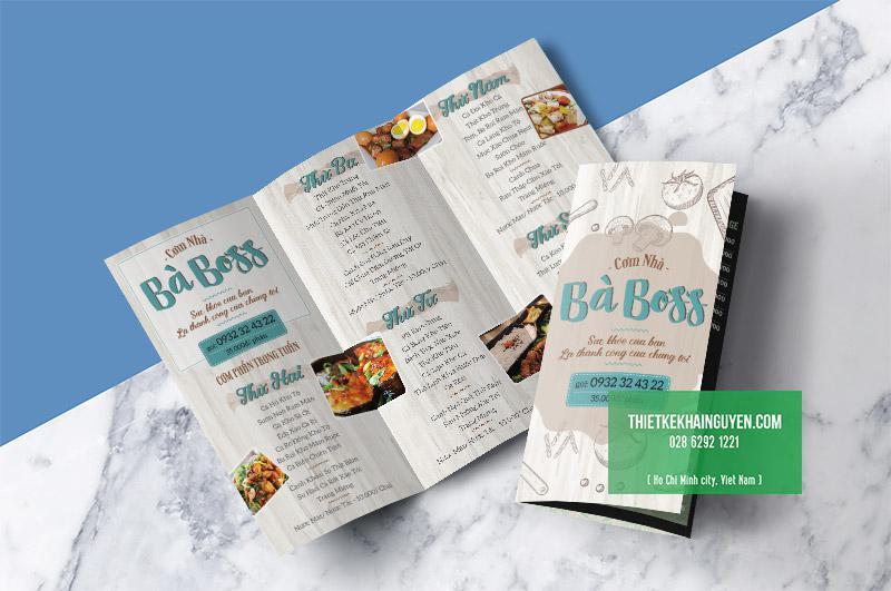 Thiết kế và in menu quán ăn gia đình - cơm nhà nấu Bà BOSS