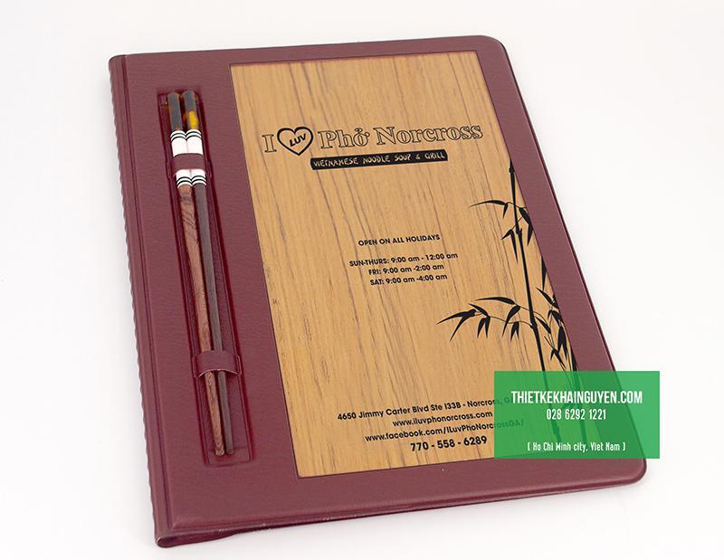 Thực đơn bìa gỗ cho nhà hàng Phở
