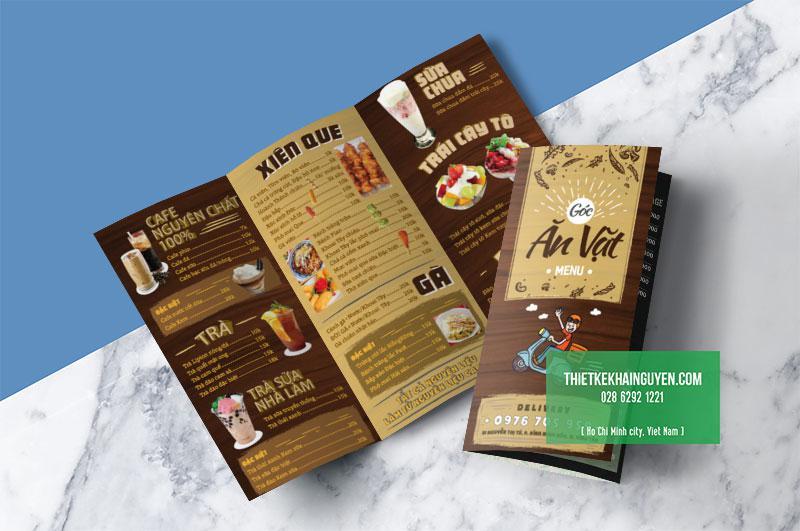 Các quán ăn vặt - cà phê - trà sữa cũng hay sử dụng menu tờ gấp