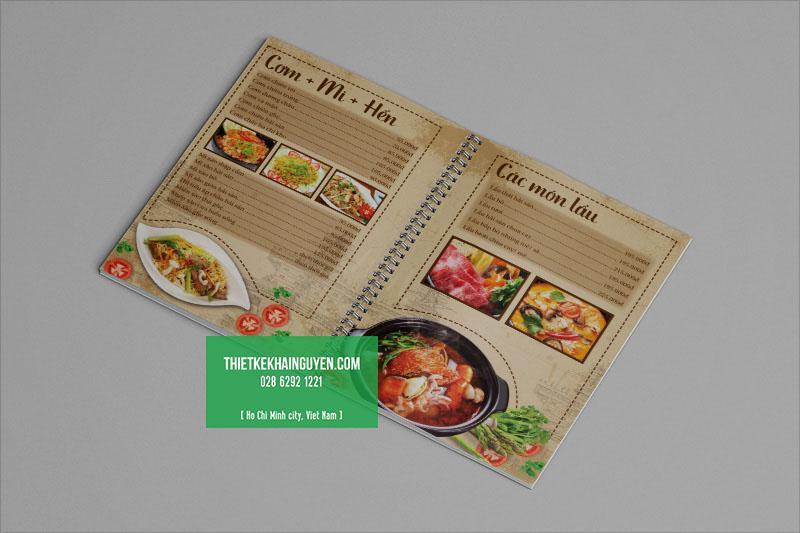 Thiết kế menu quán ăn gia đình