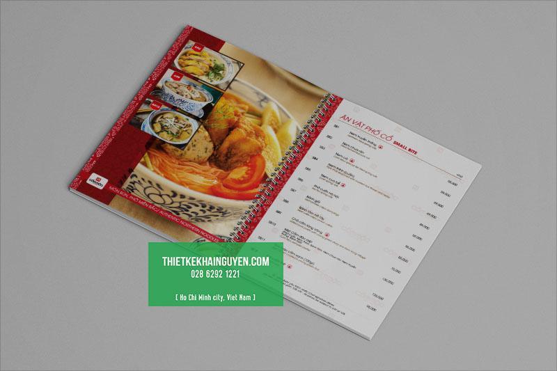 In menu quán ăn gia đình - menu lò xo