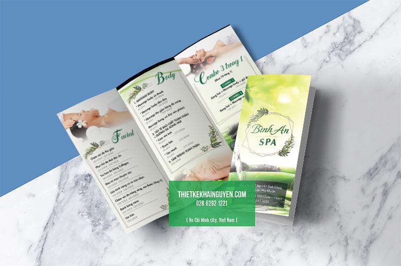 Thiết kế & in ấn menu togo cho spa